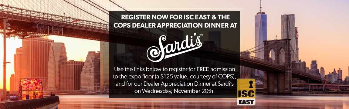 COPS Monitoring Dealer Appreciation Dinner at Sardi's during ISC East 2019 Featuring Sarah Charness
