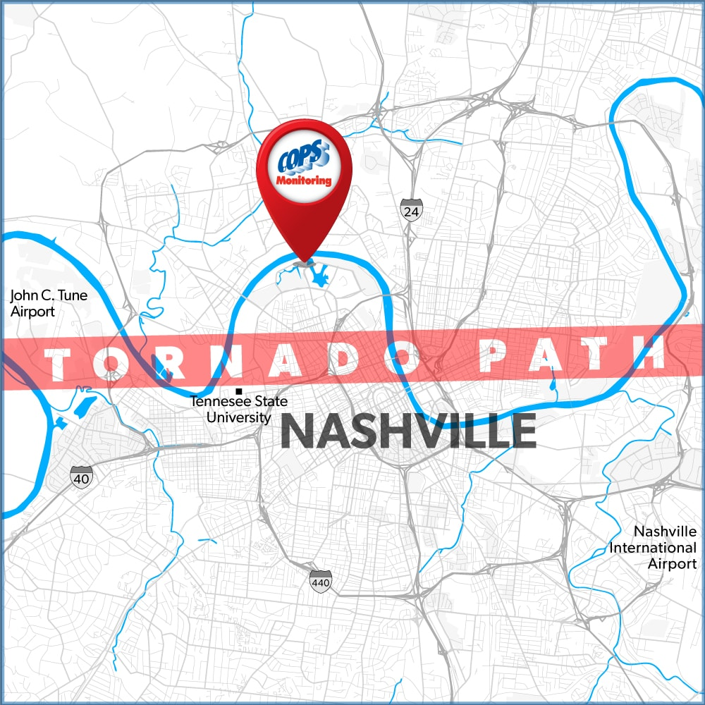 Nashville tornado carves path barely a mile from COPS Monitoring and disabling power and communications.